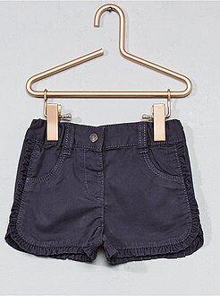 Niña 0-36 meses - Pantalón corto de sarga con volantes en los bordes - Kiabi
