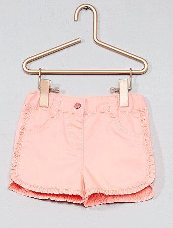 Pantalón corto de sarga con volantes en los bordes - Kiabi