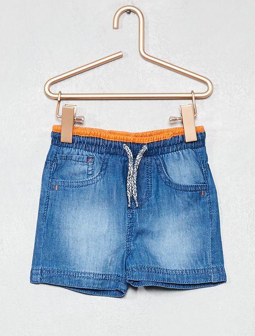 Pantalón corto de tela de efecto vaquero                                         NARANJA Bebé niño