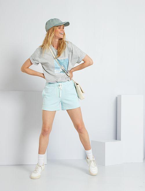 Pantalón corto deportivo de felpa                                                     azul claro