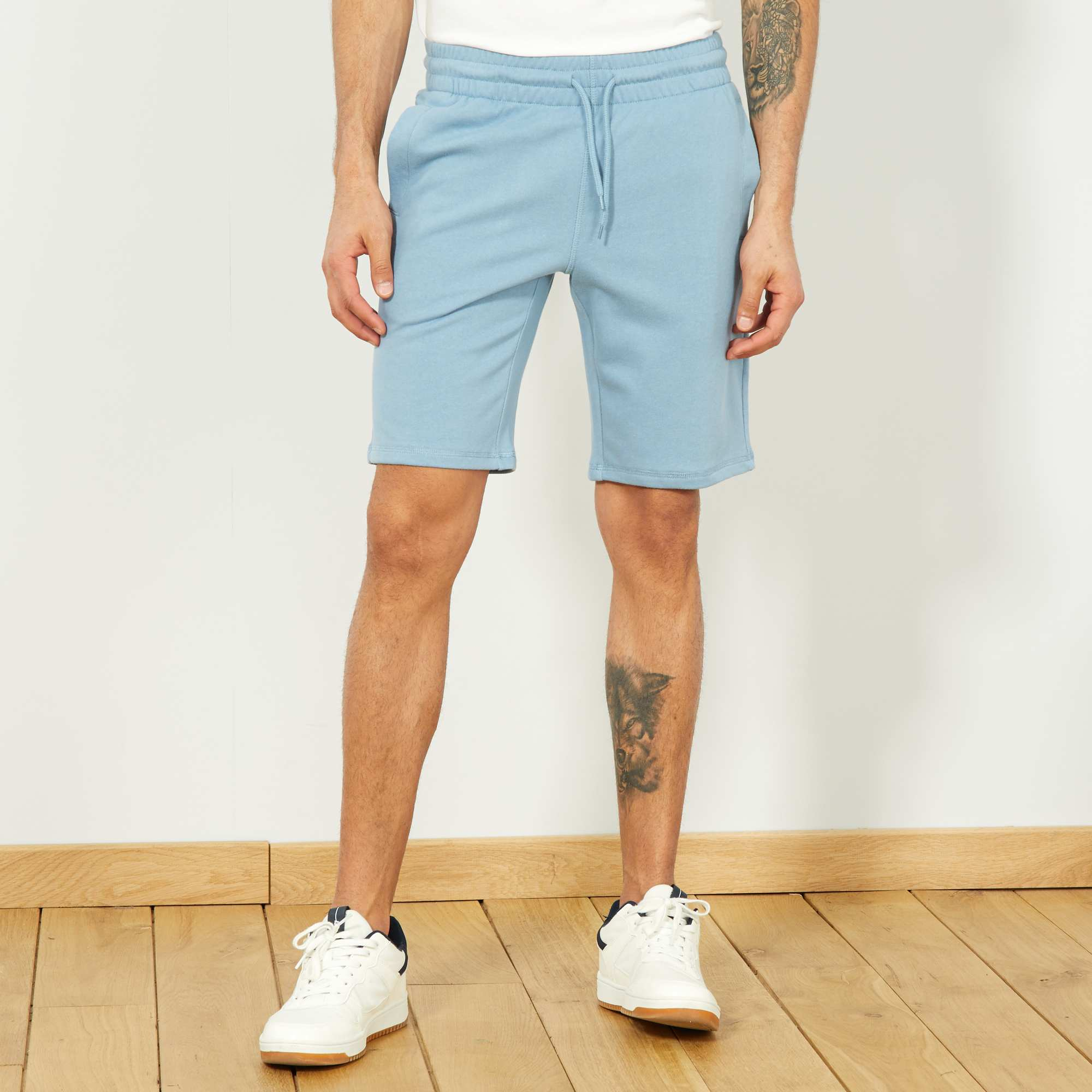 5984f440370 Pantalón corto deportivo de felpa Hombre - azul gris pala - Kiabi ...