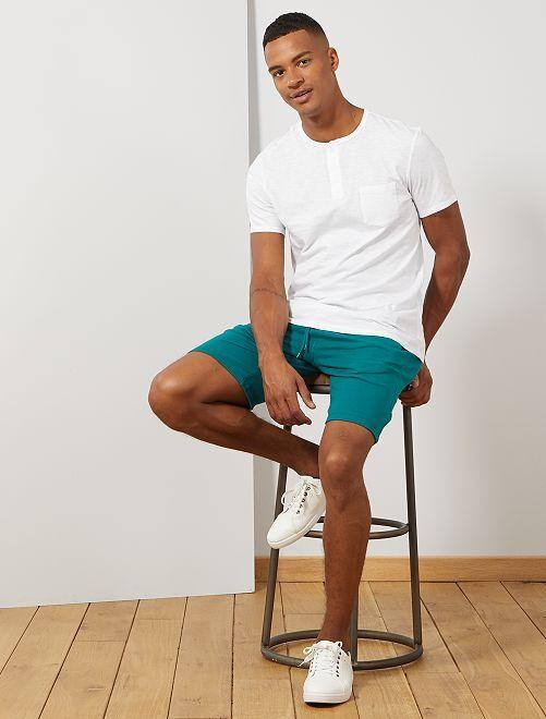 Pantalón corto deportivo de felpa                                                                                         VERDE Hombre