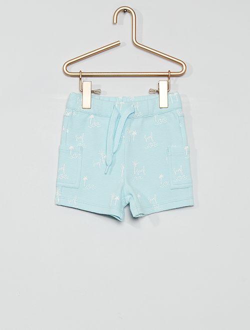 Pantalón corto eco-concepción                                                     estampado azul