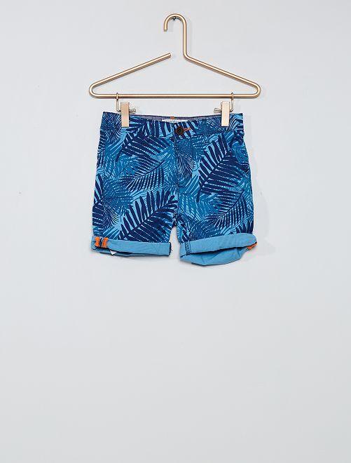 Pantalón corto estampado 'hojas'                             azul