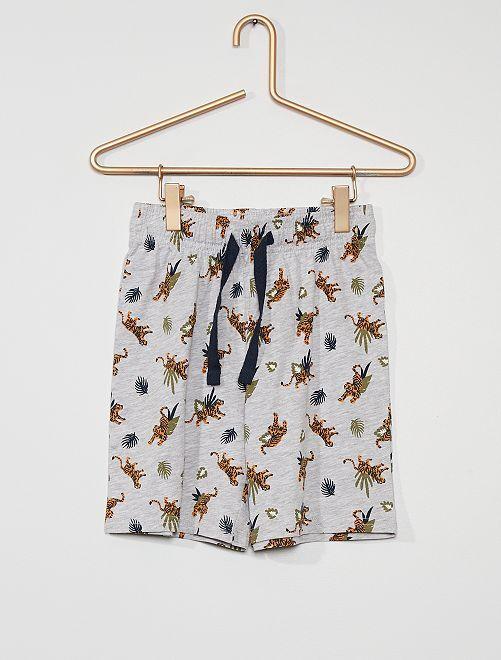 Pantalón corto ligero con motivos                                         GRIS