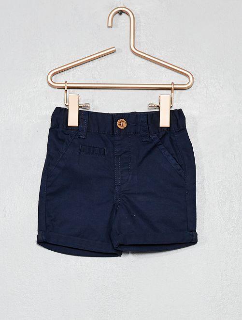 Pantalón corto liso con vuelta                                                                                         azul Bebé niño