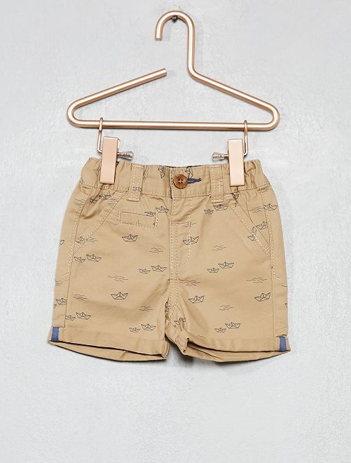 Pantalón corto liso con vuelta                                                                                         BEIGE Bebé niño