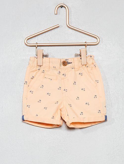 Pantalón corto liso con vuelta                                                                                         NARANJA Bebé niño