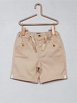 Pantalón corto liso de sarga - Kiabi