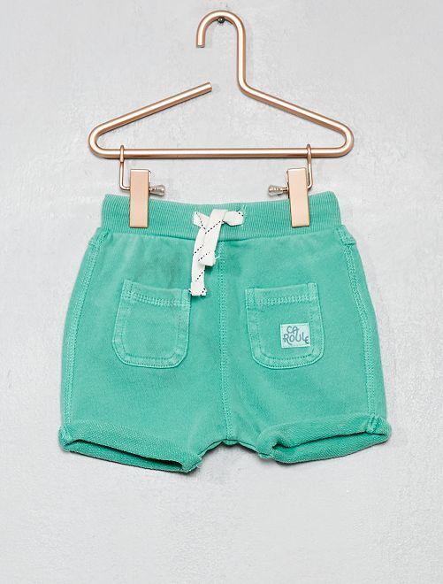 Pantalón corto tipo sarouel de felpa ligera                                         verde Bebé niño