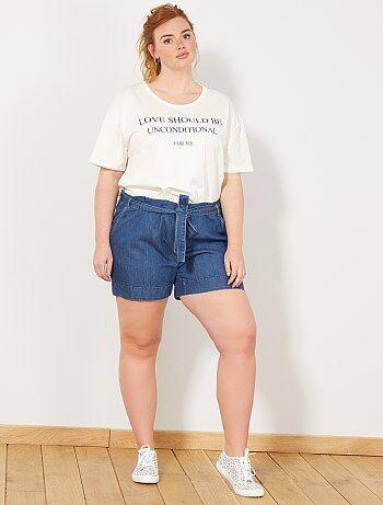 9c03ae0e08 Tallas grandes mujer - Pantalón corto vaporoso de tela vaquera - Kiabi