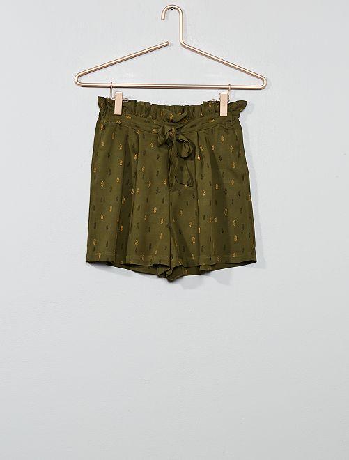 Pantalón corto vaporoso estampado                                         KAKI Joven niña