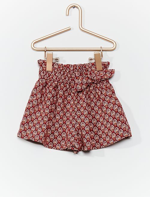 Pantalón corto vaporoso estampado                                         ROJO
