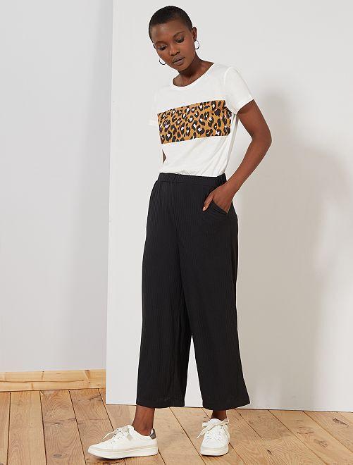 Pantalón cropped de punto de canalé                                                     negro Mujer talla 34 a 48
