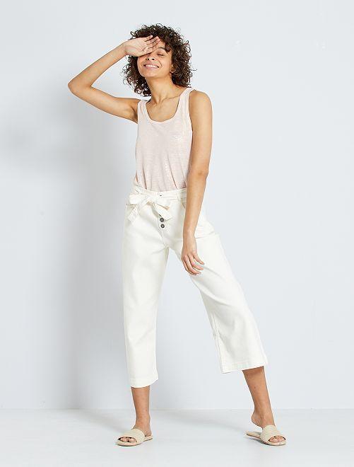 Pantalón culotte de talle alto                             BLANCO