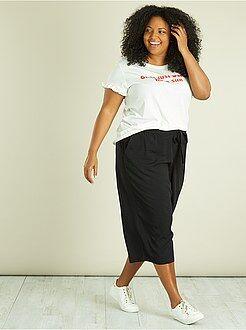 Pantalón culotte de viscosa de plumeti - Kiabi