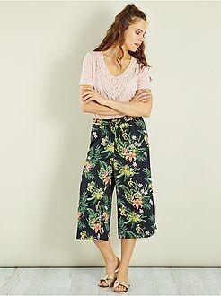 Mujer - Pantalón culotte vaporoso de flores - Kiabi