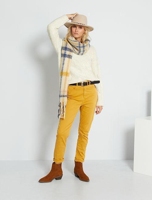 Pantalón de algodón elástico                             AMARILLO