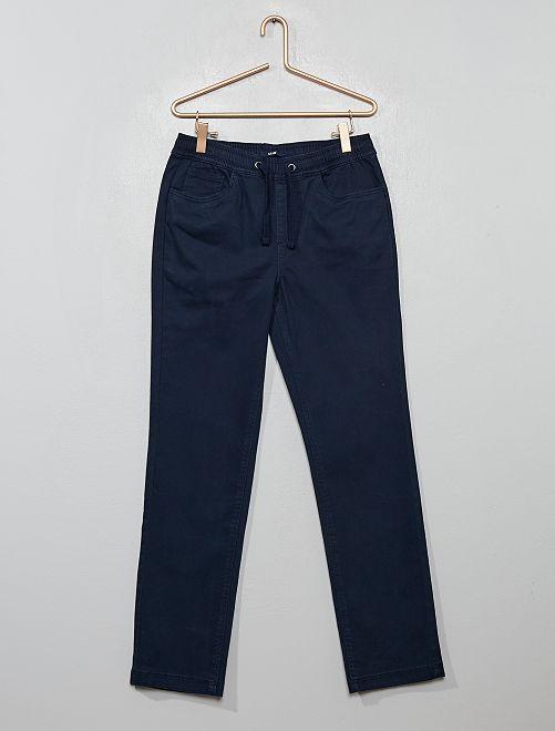 Pantalón de algodón elástico                                         azul