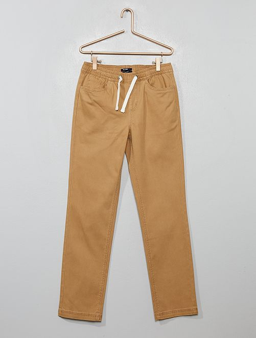 Pantalón de algodón elástico                                         BEIGE