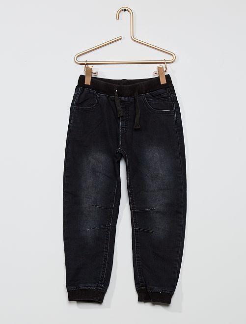 Pantalón de algodón elástico                             denim gris