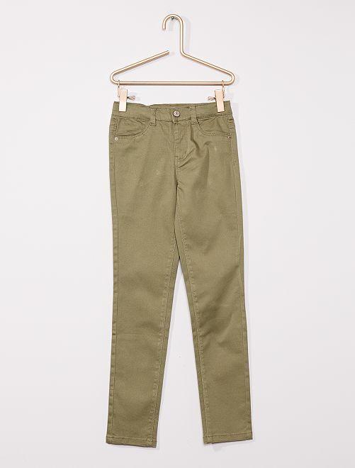 Pantalón de algodón elástico niños talla -                                             verde liquen