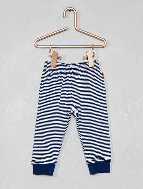 Pantalón de algodón puro                                         a rayas azul Bebé niño