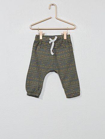 8323e39c3 Niño 0-36 meses - Pantalón de algodón y lino con estampado étnico - Kiabi