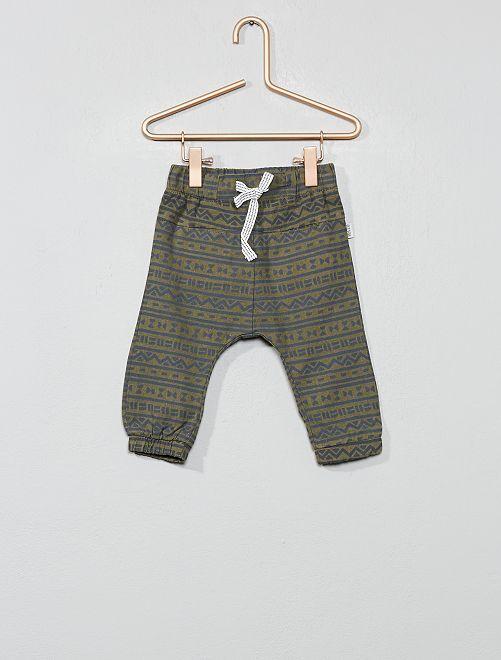 Pantalón de algodón y lino con estampado étnico                             KAKI Bebé niño