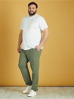Pantalones - Pantalón de algodón y lino - Kiabi