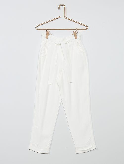 Pantalón de crepé ancho                             blanco nieve