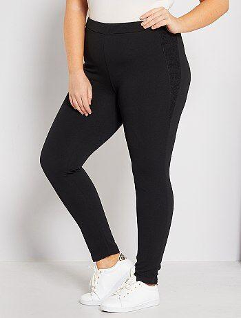 Tallas grandes mujer - Pantalón de crepé con encaje - Kiabi 1689b7a524c2