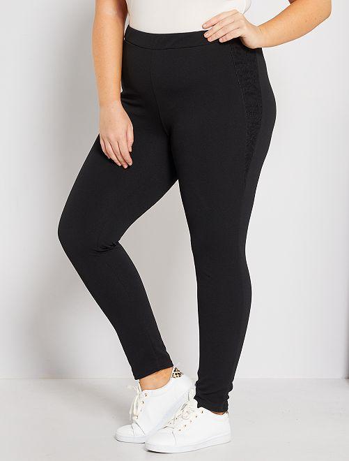 Pantalón de crepé con encaje                             noir