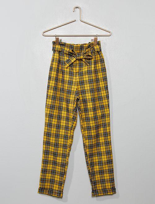 Pantalón de cuadros con cinturón anudable                             cuadros amarillo
