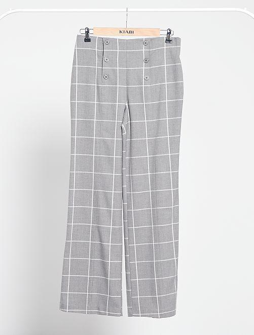 Pantalón de cuadros con talle alto                             cuadros gris
