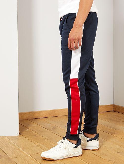 Pantalón de deporte con bandas laterales                             AZUL Hombre