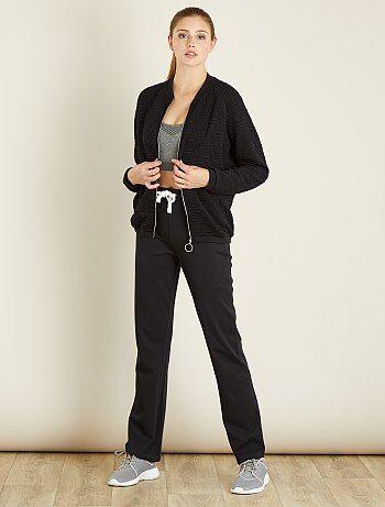 Pantalón de deporte de algodón de felpa                                                     negro Mujer