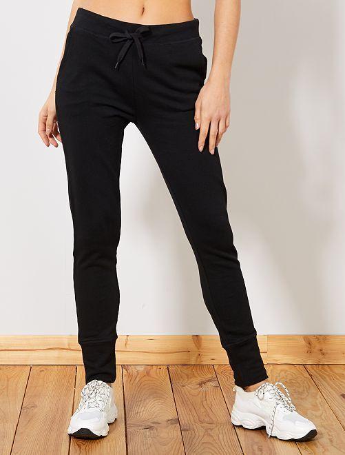 Pantalón de deporte de felpa                                                     negro Mujer talla 34 a 48