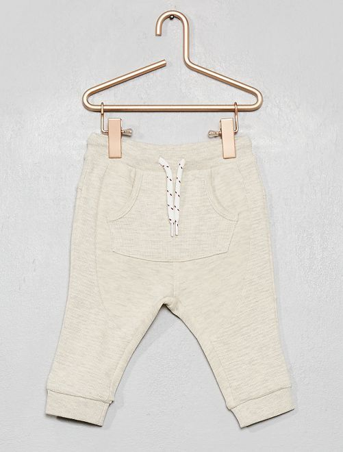 Pantalón de dos tejidos                             BEIGE