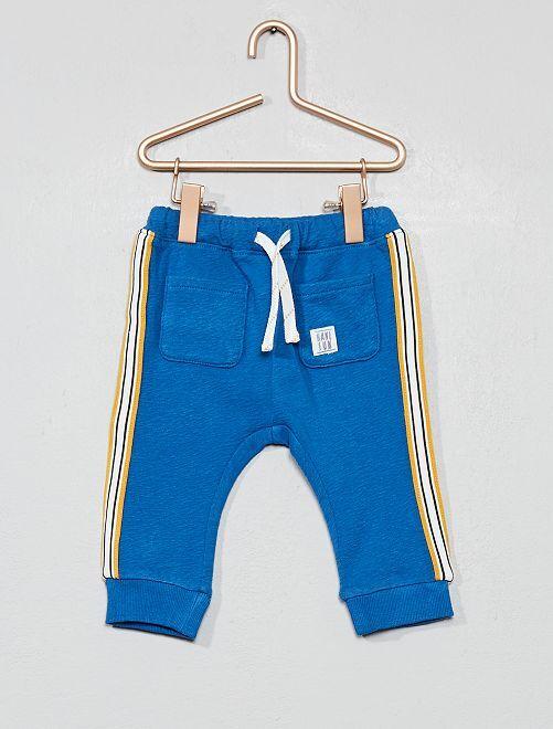 Pantalón de felpa con banda lateral                             AZUL Bebé niño