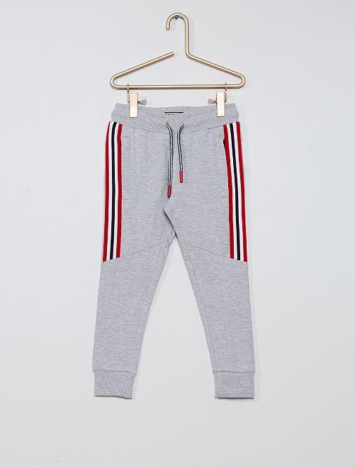 Pantalón de felpa con bandas a contraste                             gris