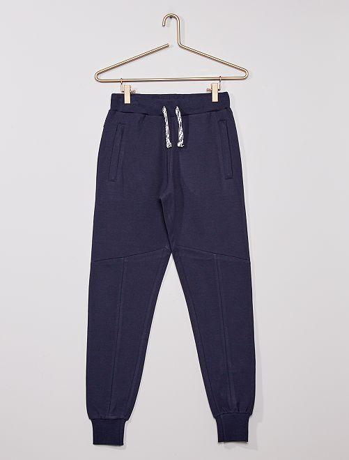 Pantalón de felpa con cremalleras en los bolsillos                             azul marino