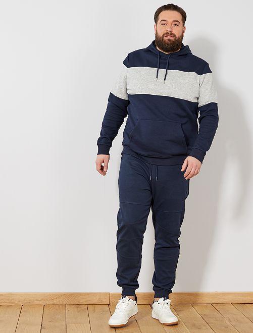 Pantalón de felpa con detalles en las rodillas                             azul Tallas grandes hombre
