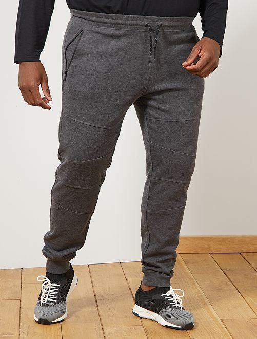 Pantalón de felpa con detalles en las rodillas                                         GRIS
