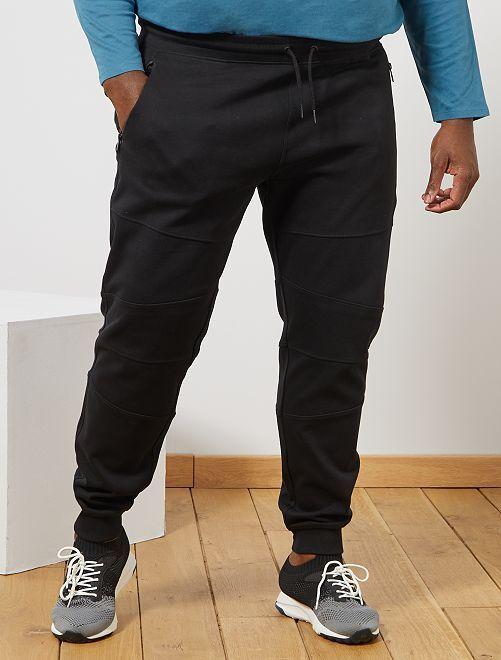 Pantalón de felpa con detalles en las rodillas                                         negro Tallas grandes hombre