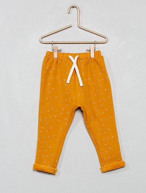 Pantalón de felpa con pelo                                                                 estampado amarillo