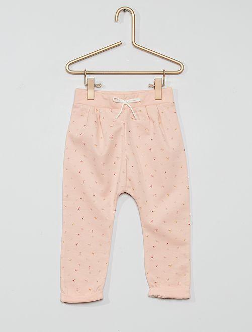 Pantalón de felpa eco-concepción                                             estampado rosa