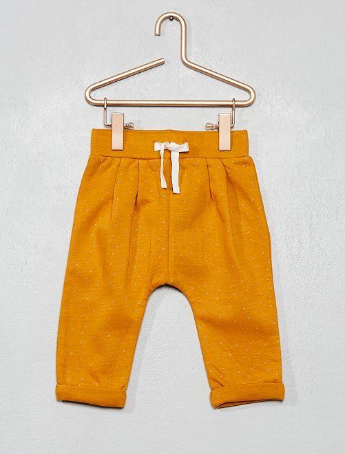 Pantalón de felpa estampado                                                     AMARILLO