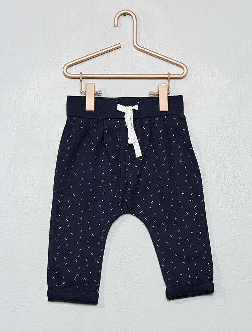 Pantalón de felpa estampado                                                     AZUL