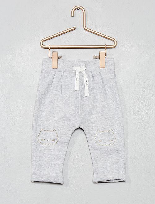 Pantalón de felpa estampado                                             GRIS